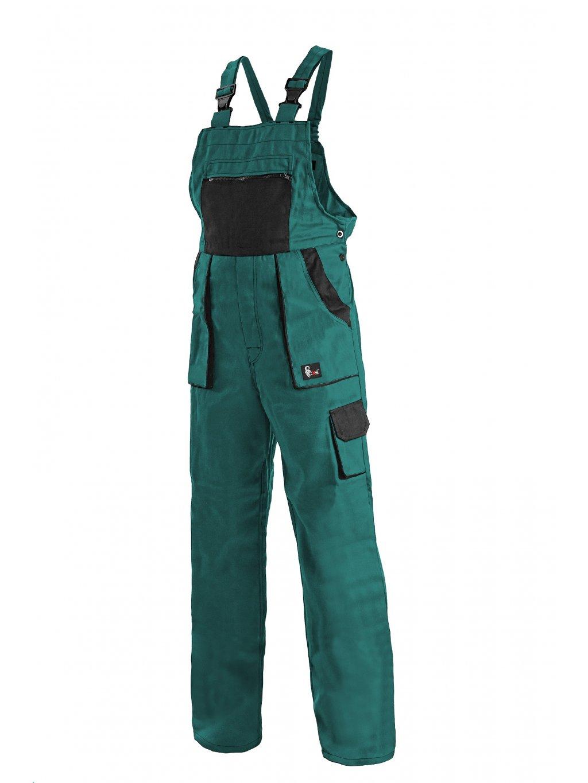 Nohavice dámske s náprsenkou zelené