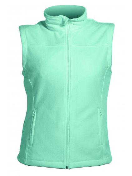Vesta flaušová na zips zelená