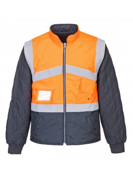 Obojstranná bunda a vesta 4v1 oranžová
