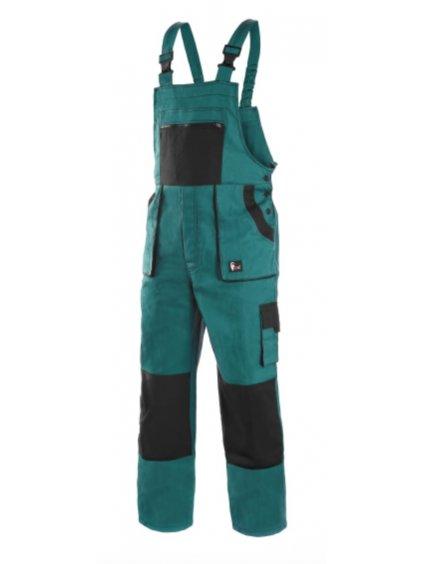 Nohavice Lux s náprsenkou zelené pracovné
