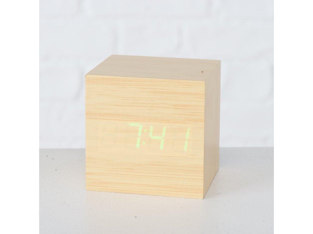 Stolové hodiny KUBÍK, natur