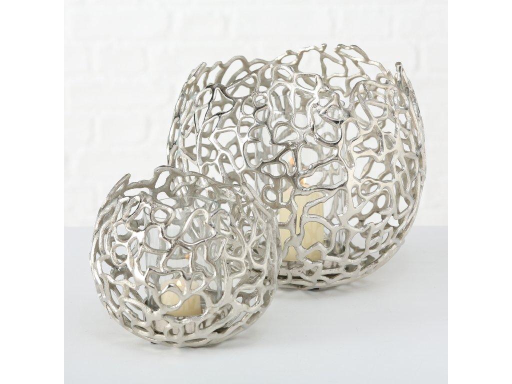 Set dvou hliníkových svícnů stříbrná FRÍDA