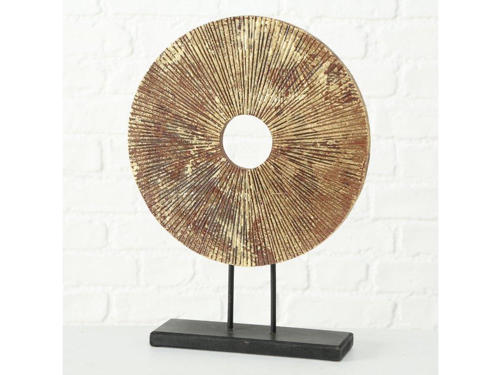 Dřevěná dekorace WILL na kovovém podstavci v barvě antické hnědé