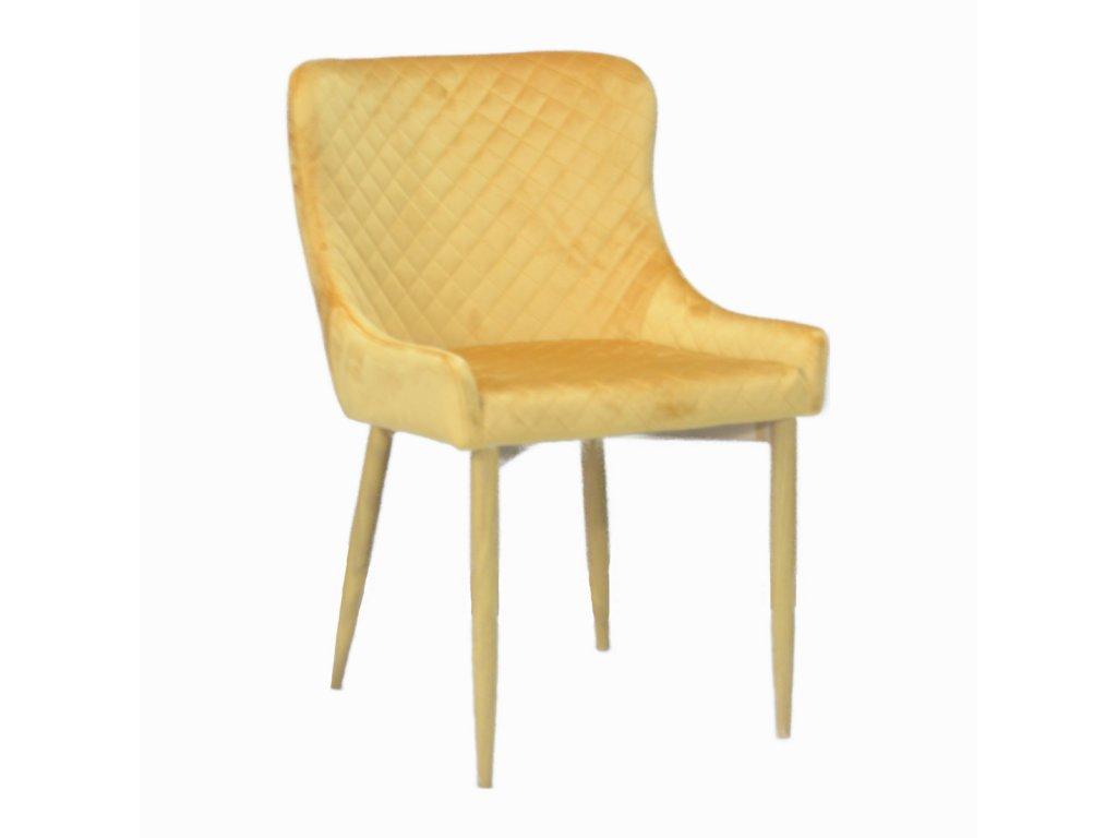 Designová jídelní židle CRYSTAL, zlatý samet