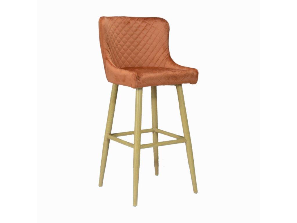 Prošívaná designová barová židle CRYSTAL, koňaková