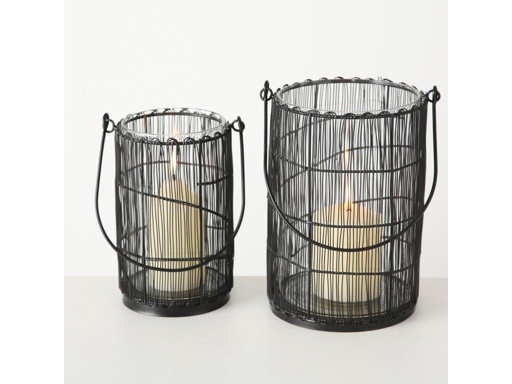 Set dvou svícnů ANETA se sklem