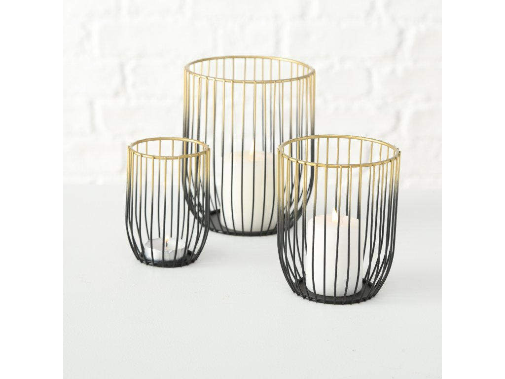 JUNE Set tří drátěných svícnů