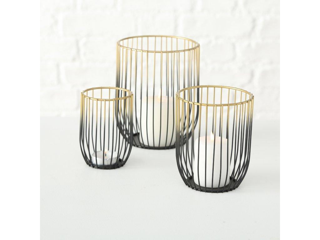 Set tří drátěných svícnů JUNE, černozlatý