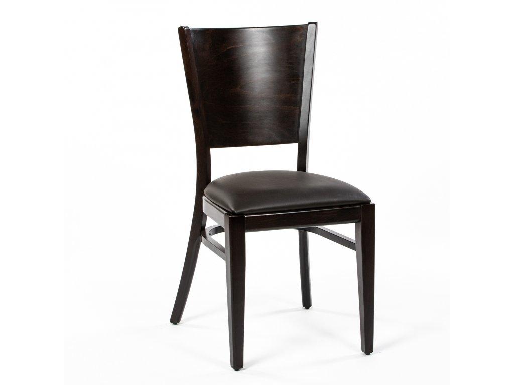 XTON 917 Jídelní buková židle hnědá koženka
