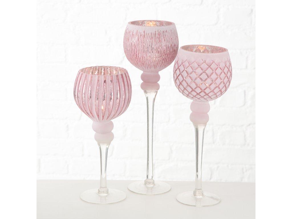 Set tří skleněných svícnů PINKLIGHT
