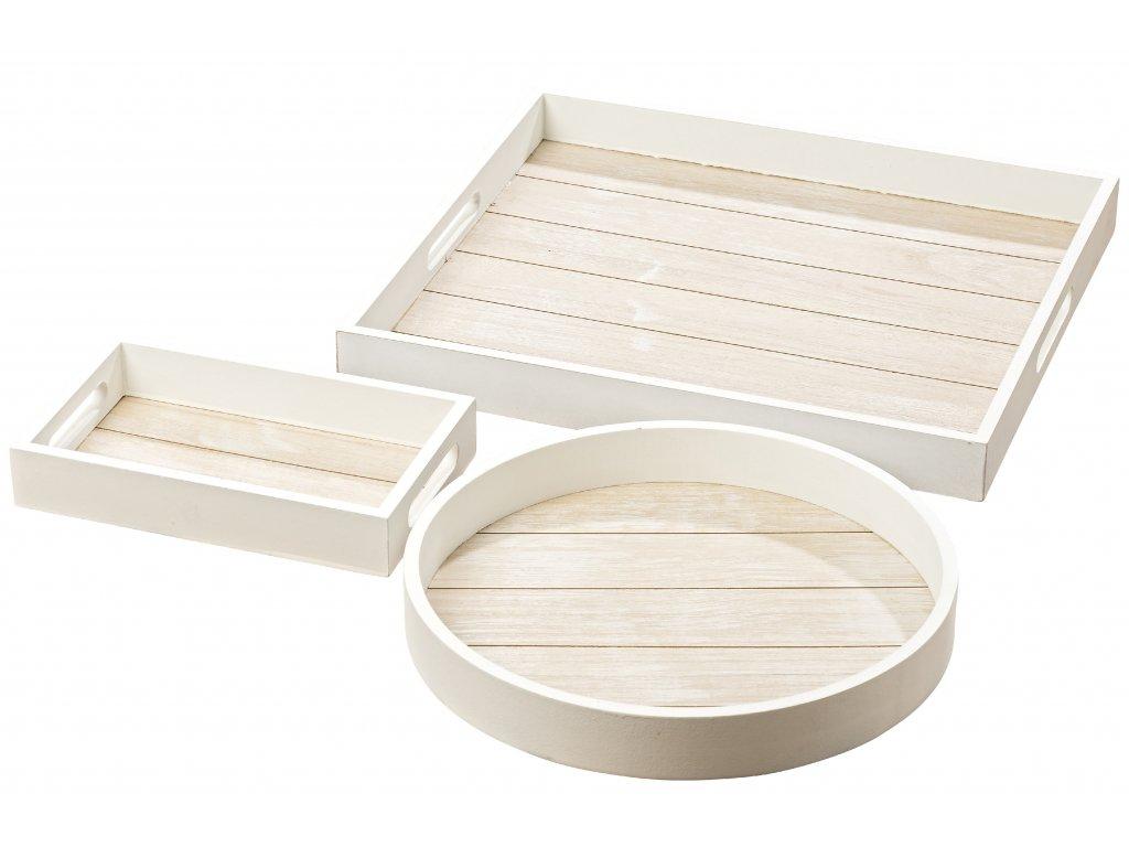 MICHAEL Set tří dřevěných podnosů bílé