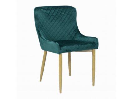 Designová jídelní židle CRYSTAL, tmavě zelený samet