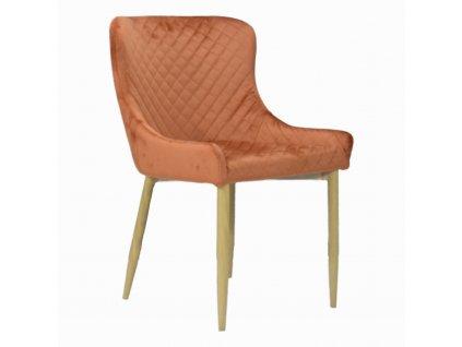 Designová jídelní židle CRYSTAL, koňakový samet