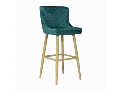 Prošívaná designová barová židle CRYSTAL, tm.zelená