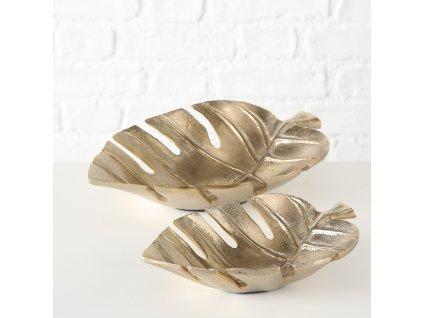 Set dvou kovových dekorativních misek MONSTERA, zlatá