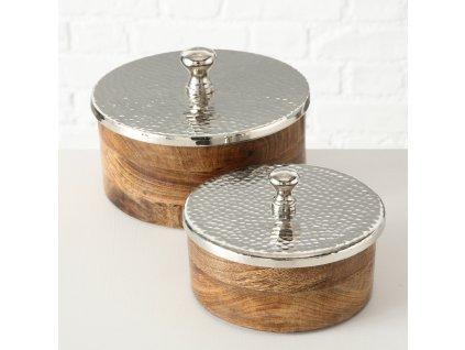 MANGO Set dvou dřevěných dóz