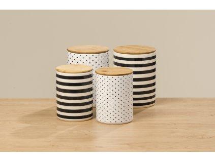 Set dvou keramických dóz na potraviny  BAMBIE, pruhovaná
