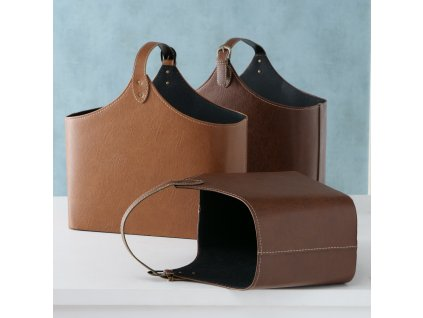 Elegantní set dvou košíků MARILA. Tm. hnědá