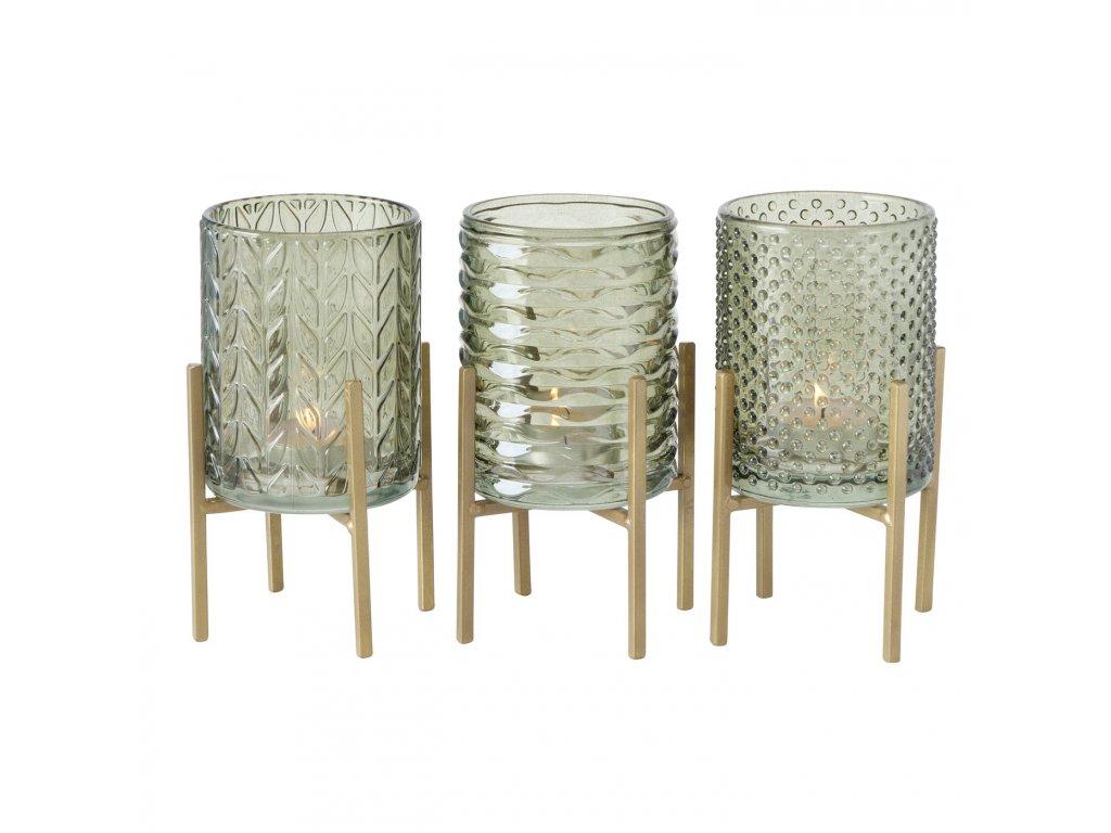 BODEN Set troch sklenených svietnikov