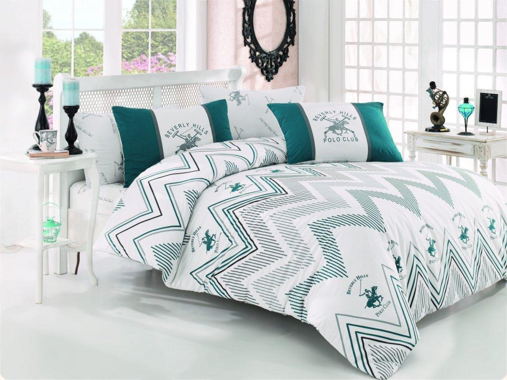 BEVERLY HILLS POLO CLUB 025 set posteľných obliečok, zelenomodrý