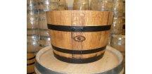 dřevěný barrique květináč/45L/-černé obruče