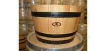 dřevěný barrique květináč/55L/-černé obruče