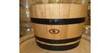 dřevěný barrique květináč/27L/-černé obruče