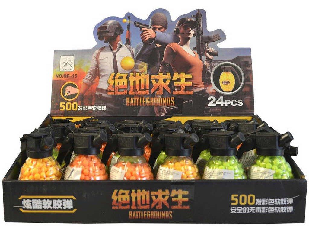 Kuličky náhradní náboje do pistole 6mm set 500ks v doze granát 3 barvy