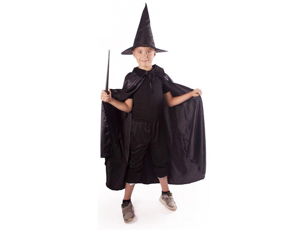 KARNEVAL Šaty plášť + klobouk čaroděj černý (3-10 let) *KOSTÝM*