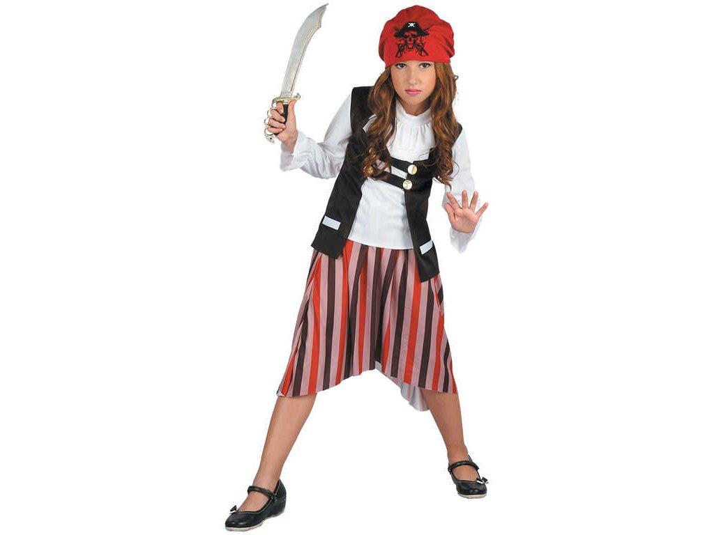 KARNEVAL Šaty pirátka vel.L (130-140 cm) 8-10 let KOSTÝM