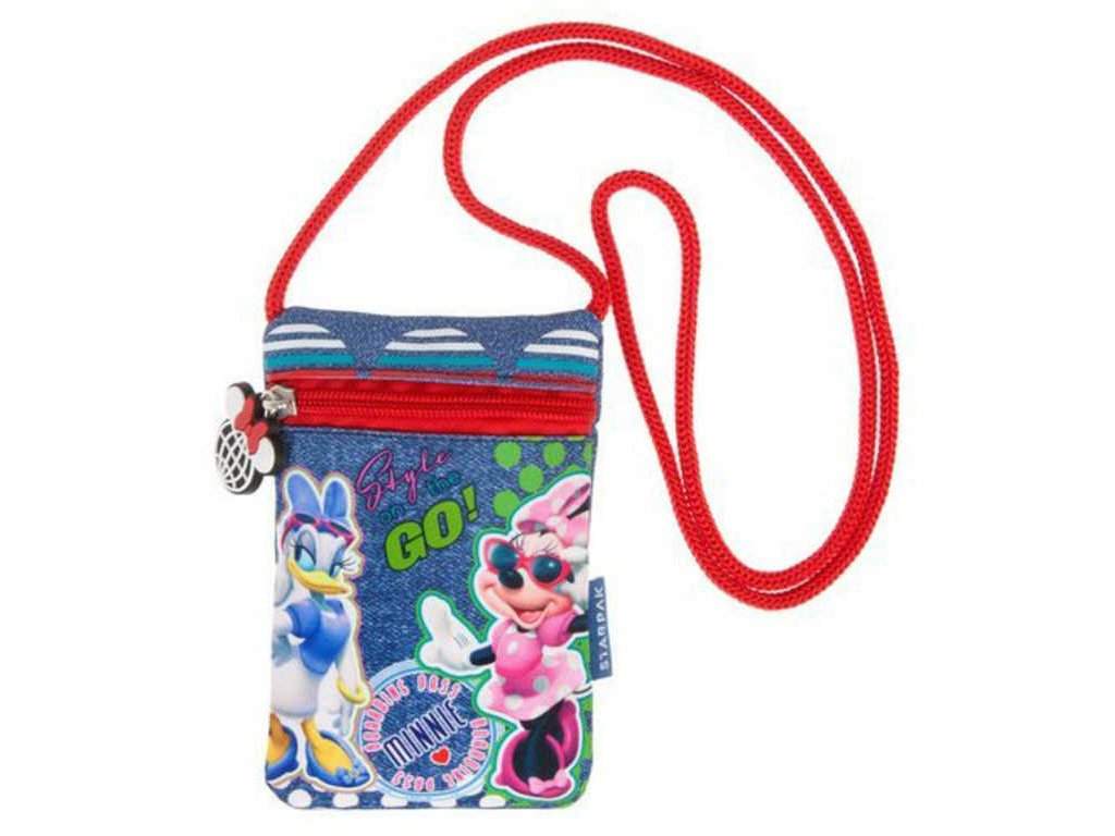 Dětská taštička na krk Disney Minnie Mouse s provázkem peněženka na zip