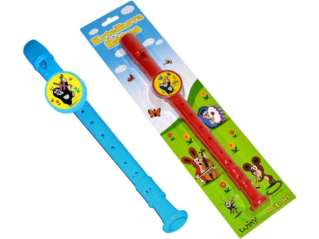 Dětská flétna Krtek (Krteček) 33cm 2 barvy plast na kartě