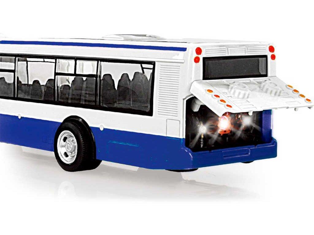 Autobus MHD 28cm česky hlásí zastávky funkční dveře na baterie Světlo Zvuk CZ