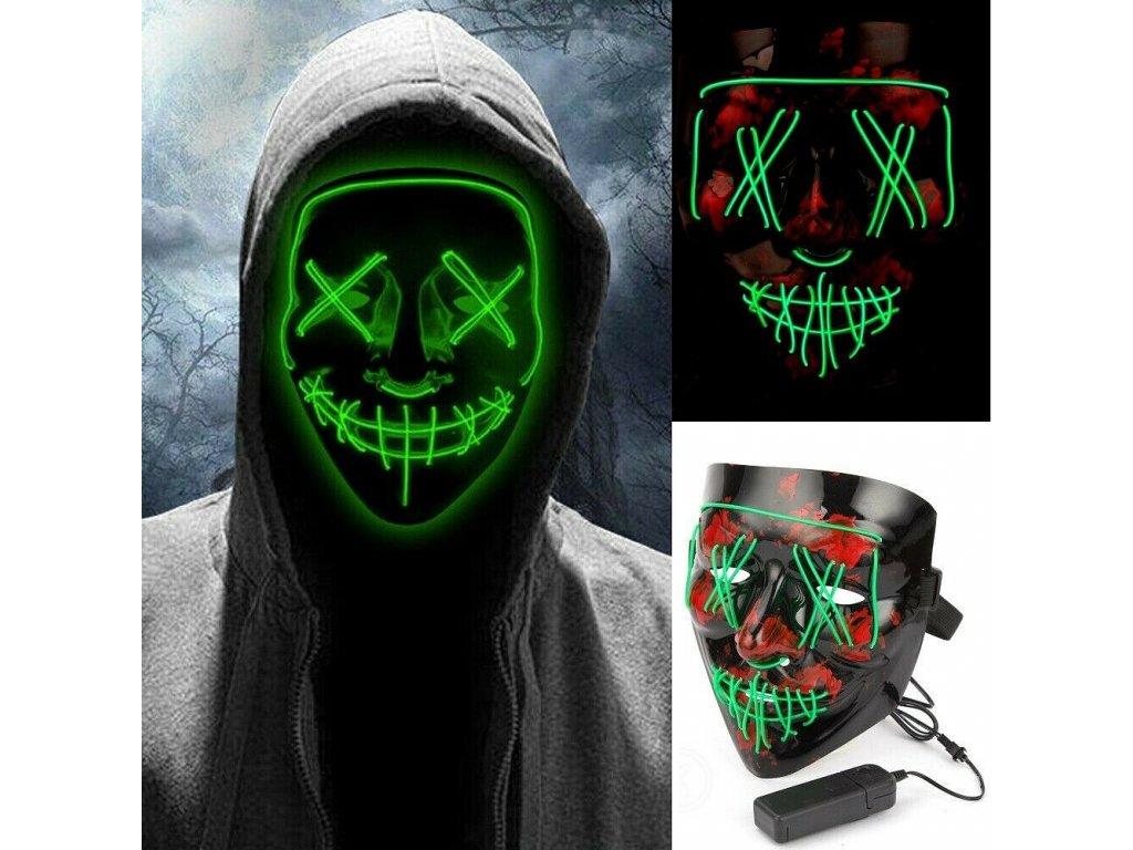 Maska se světelným efektem - The Purge (Zelená)