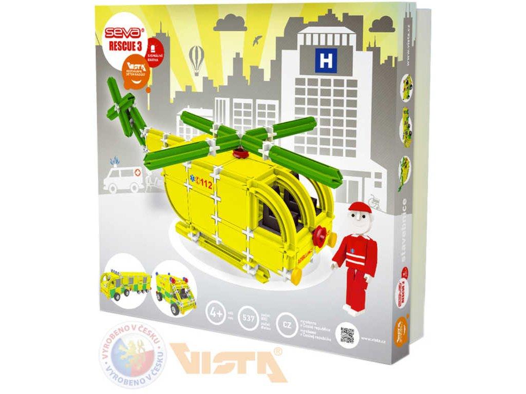 SEVA RESCUE 3 záchranáři polytechnická STAVEBNICE 537 dílků v krabici  + Dárek zdarma