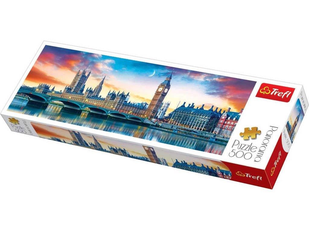 TREFL PUZZLE Panoramatické foto pohled na Londýn skládačka 66x23,5cm 500 dílků