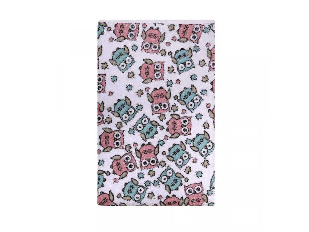 Nepromokavá podložka Akuku froté 70x50 - s růžovými sovami - bílá