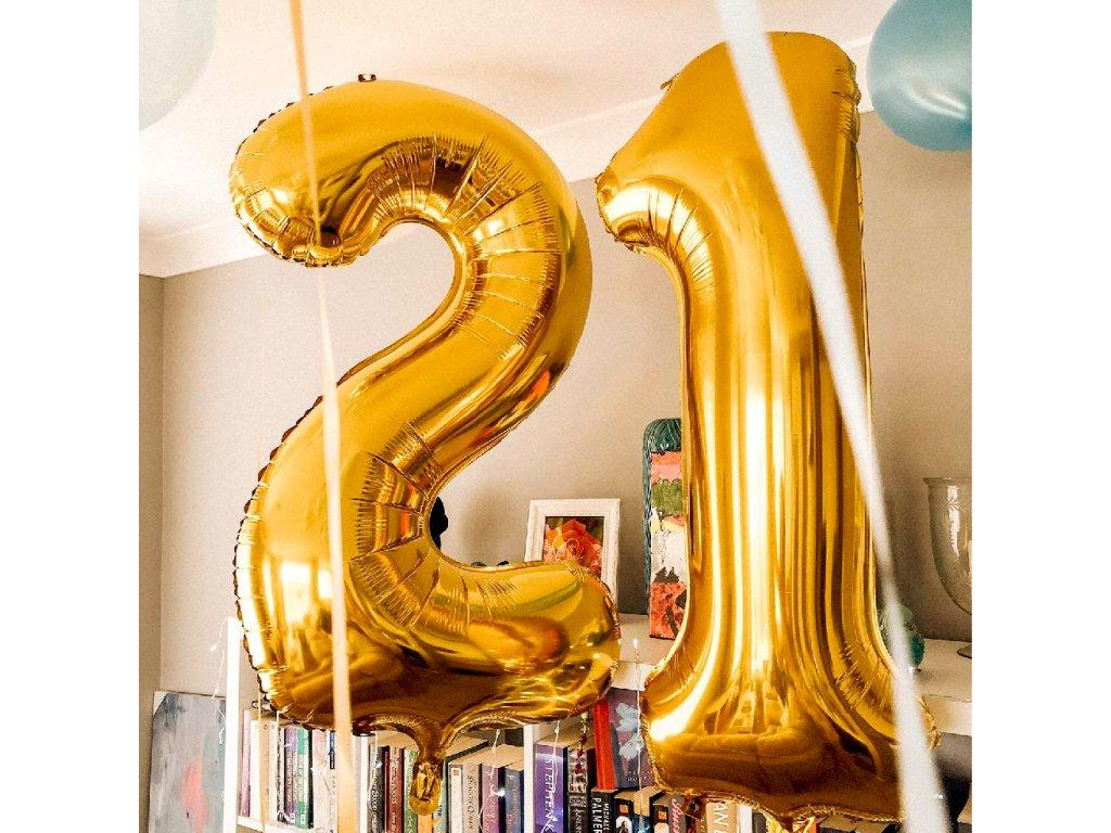 Nafukovací balónky čísla maxi zlaté - 0