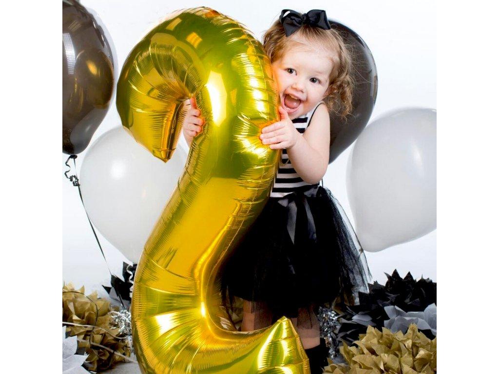 Nafukovací balónky čísla maxi zlaté - 7