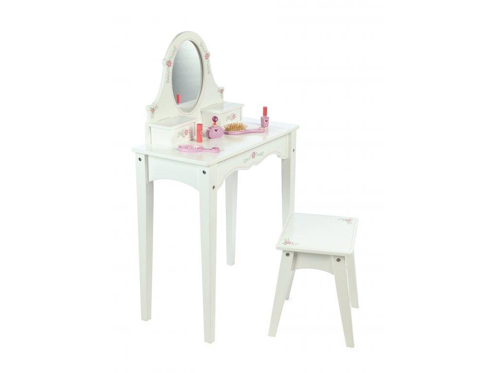 Tidlo Dřevěný kosmetický stoleček bílý  + Dárek zdarma