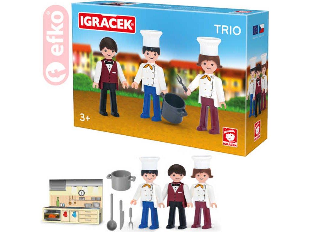 EFKO IGRÁČEK TRIO Vaříme set 3 figurky s doplňky v krabičce STAVEBNICE