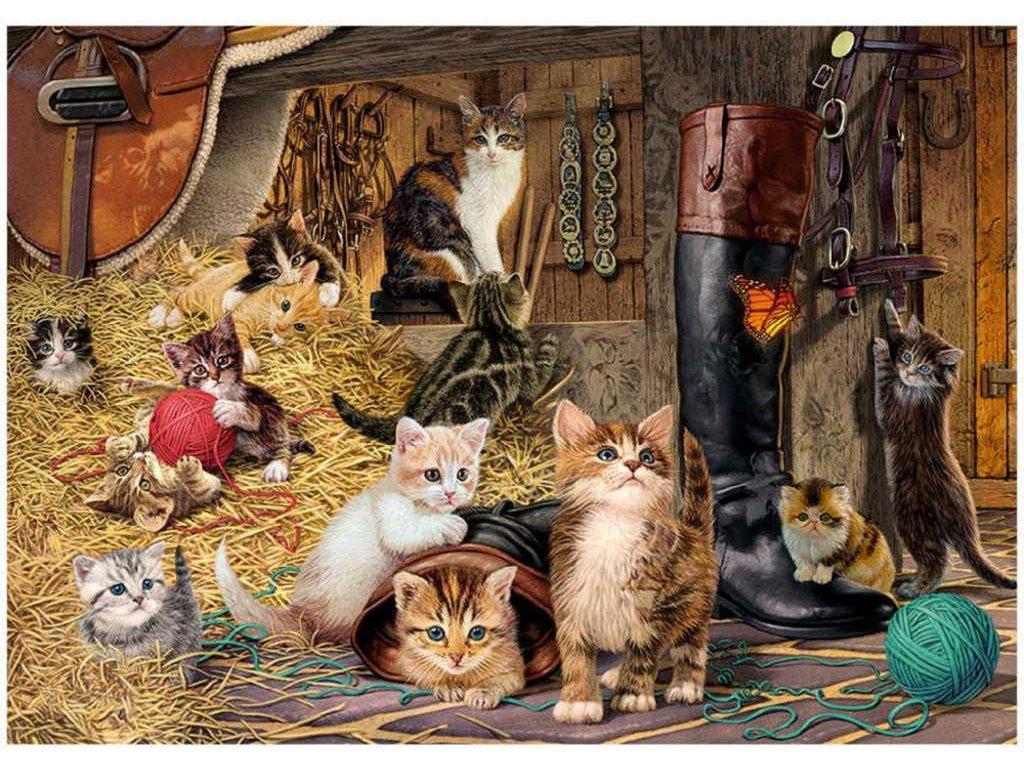 DINO Puzzle 1000 dílků Kočičky skrytá tajemství 66x47cm skládačka v krabici