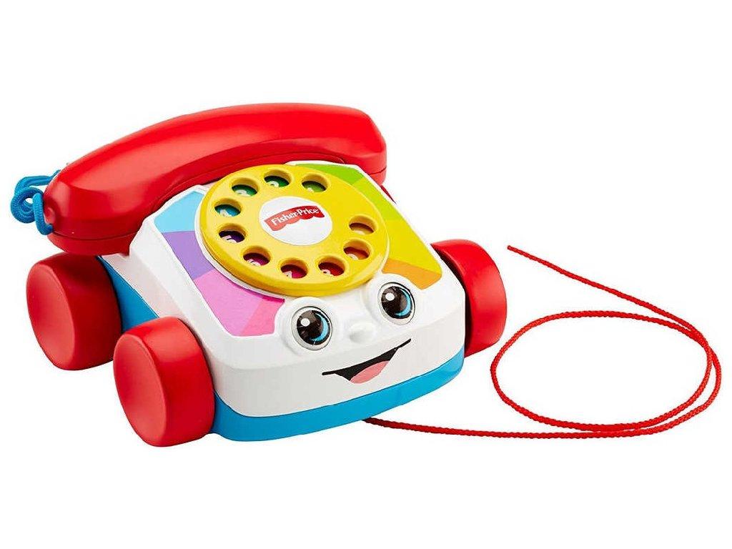 FISHER PRICE Baby telefon klasický tahací s obličejem pohyblivé oči pro miminko
