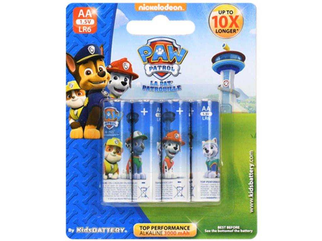 Baterie Tlapková Patrola AA (LR6) Alkaline 1,5V set 4ks pro kluky na kartě