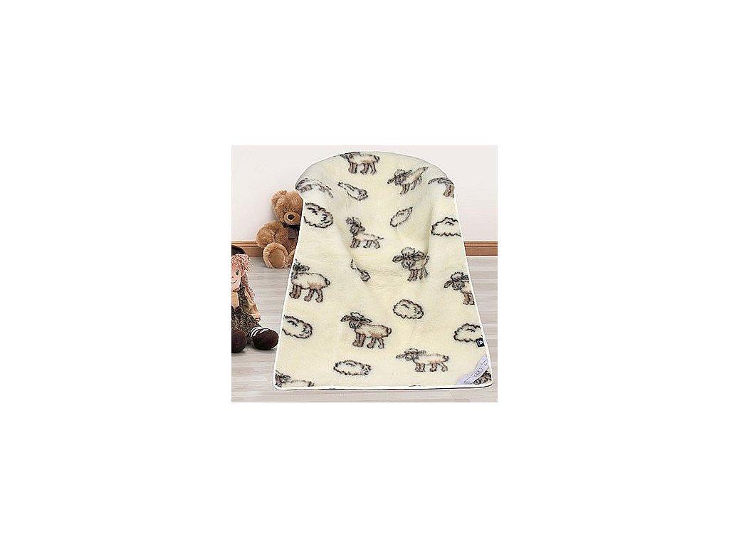 Evropské merino deka dětská bílá ovečka - 100x150 cm - deka ovečka  + Nanopodložka, loupač, nebo desinfekce