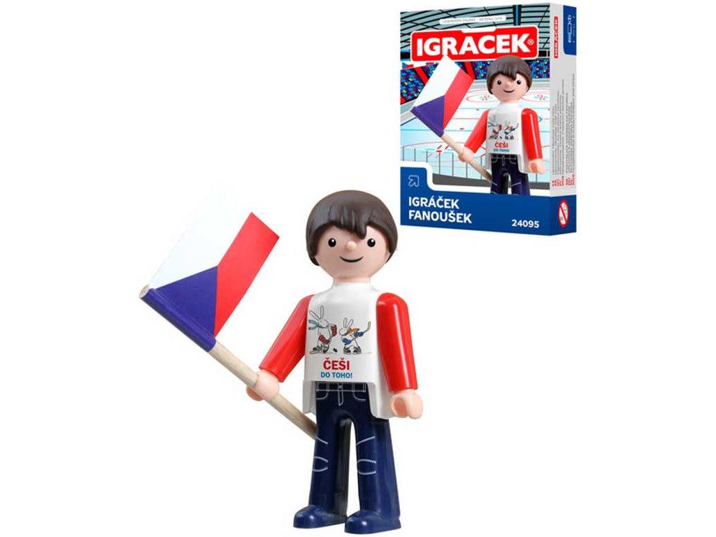EFKO IGRÁČEK Fanoušek hokejový figurka 7,5cm v krabičce STAVEBNICE