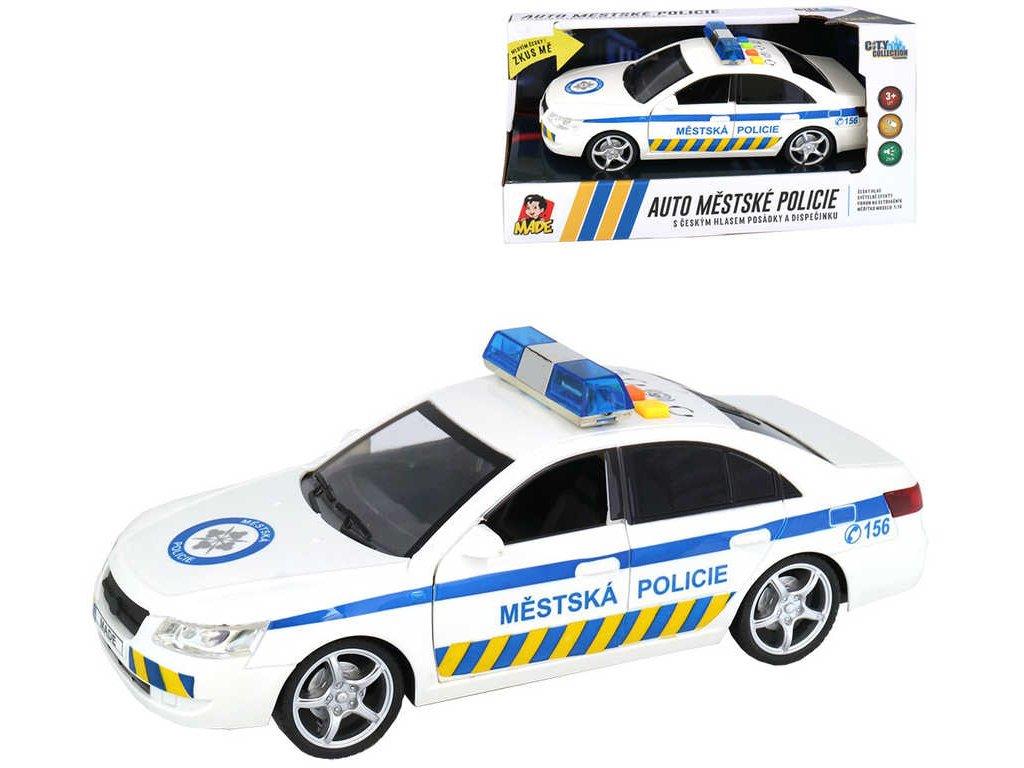 Auto městská policie 24cm CZ na setrvačník 1:16 na baterie Světlo Zvuk