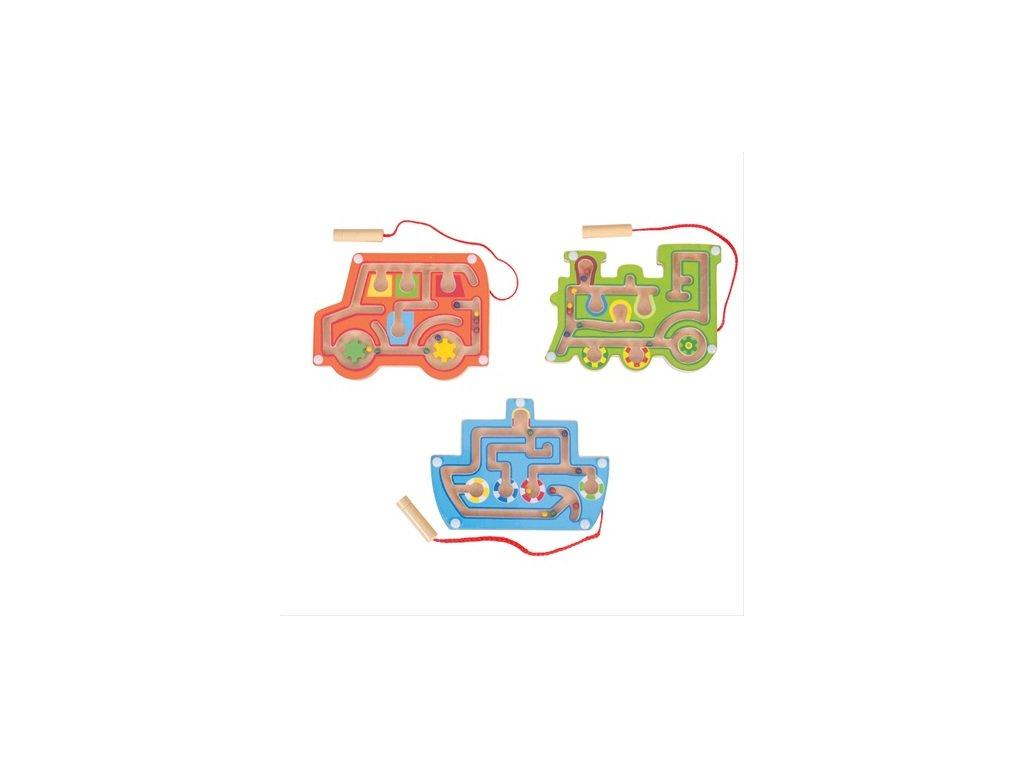 Bigjigs Toys dřevěný magnetický labyrint 1ks modrá Bigjigs Toys dřevěný magnetický labyrint 1ks modrá