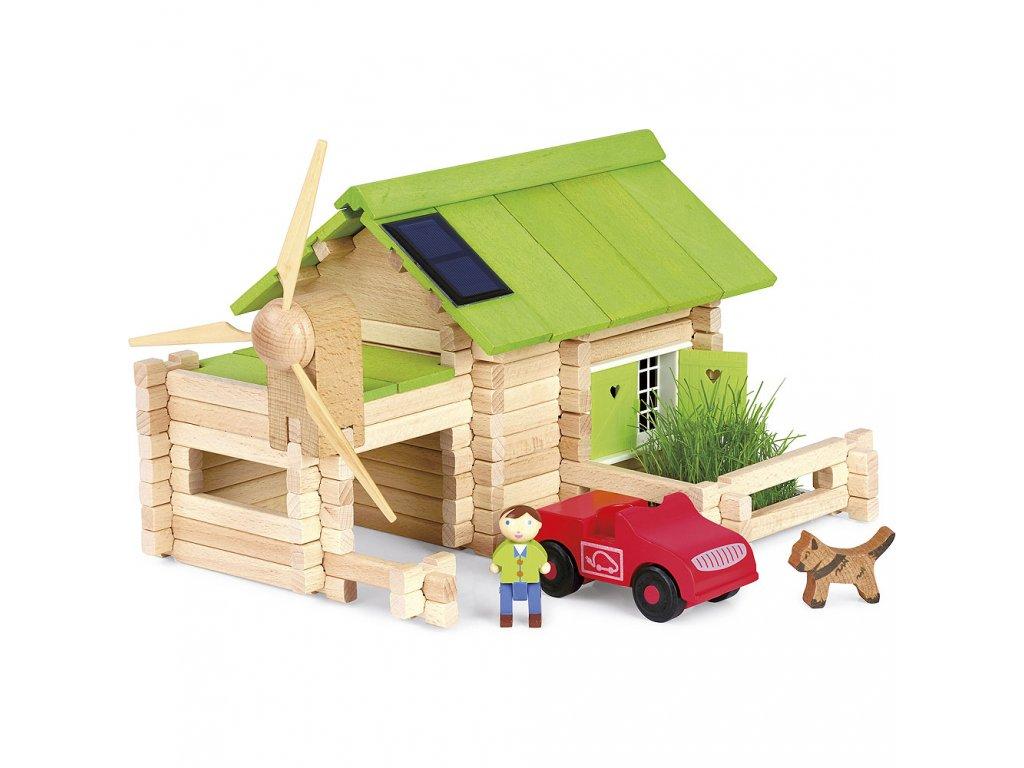 Jeujura Dřevěná stavebnice 145 dílů Ekologická chata  + Nanopodložka, loupač, nebo desinfekce