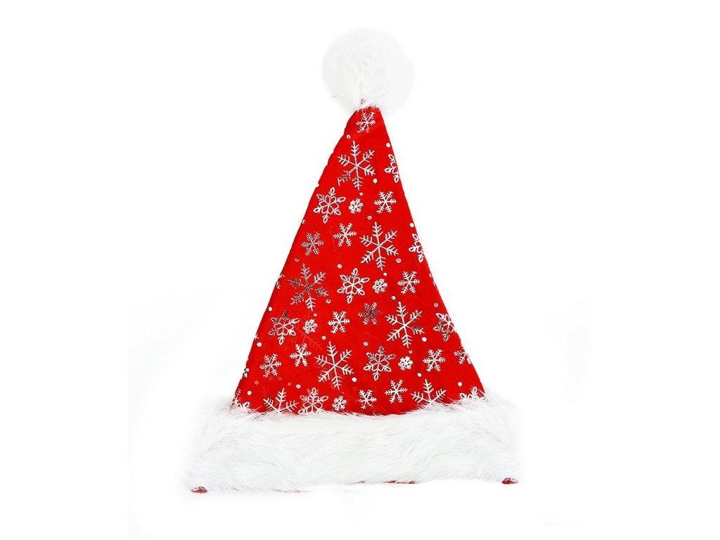 Vánoční čepice stříbrné vločky 40 cm